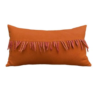 Transitional Burnt Orange Wool Lumbar Pillow With Fringe For Sale