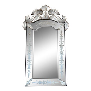 Vintage Italian Venetian Rectangular Arched Top Etched Glass Crown/Crest Mirror For Sale