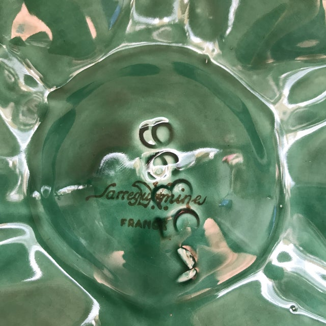 Green French Glazed Oyster Plates-Pair For Sale - Image 9 of 11