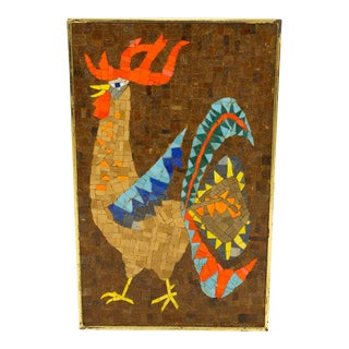 Evelyn Ackerman Style Rooster Bird Mosaic Wall Art With Brass Frame For Sale