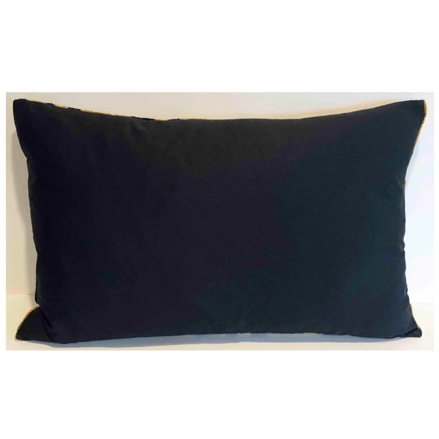 Hand soft Silk Velvet Tiger Accent Lumbar Pillow with a solid Black Cotton textile for the back. Pillow has a zipper for...