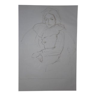 Original Vintage Seated Female Drawing-Signed