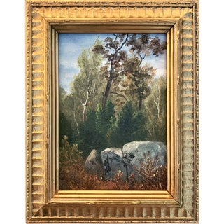 Antique American Impressionist Landscape Oil Painting on Panel C.1900 For Sale