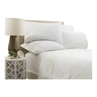 Capri Embroidered Flat Sheet Cal. King - Limestone For Sale