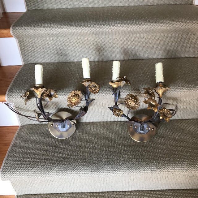Late 19th Century Floral Bronze Candelabras - a Pair For Sale - Image 5 of 5