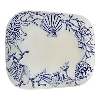 Cream and Navy Shell Design Large Ceramic Platter For Sale