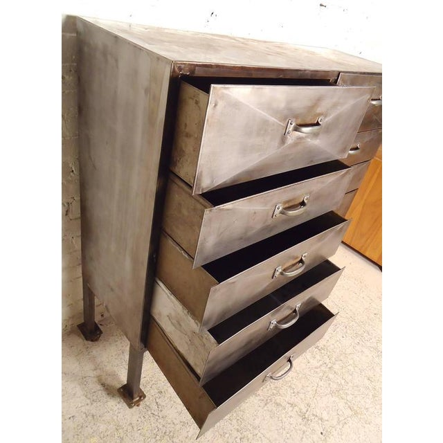 Silver Industrial Ten-Drawer Metal Cabinet For Sale - Image 8 of 9