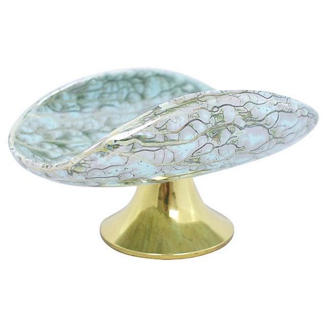 Gold Delft Porcelain Pedestal Bowl For Sale - Image 8 of 8