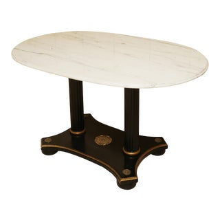 Marble and Ebonized Oval Centre Table For Sale