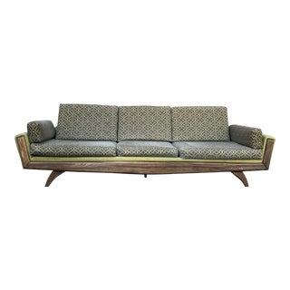 1950s Mid-Century Modern Pearsall Style Avocado Upholstered Wood Gondola Sofa