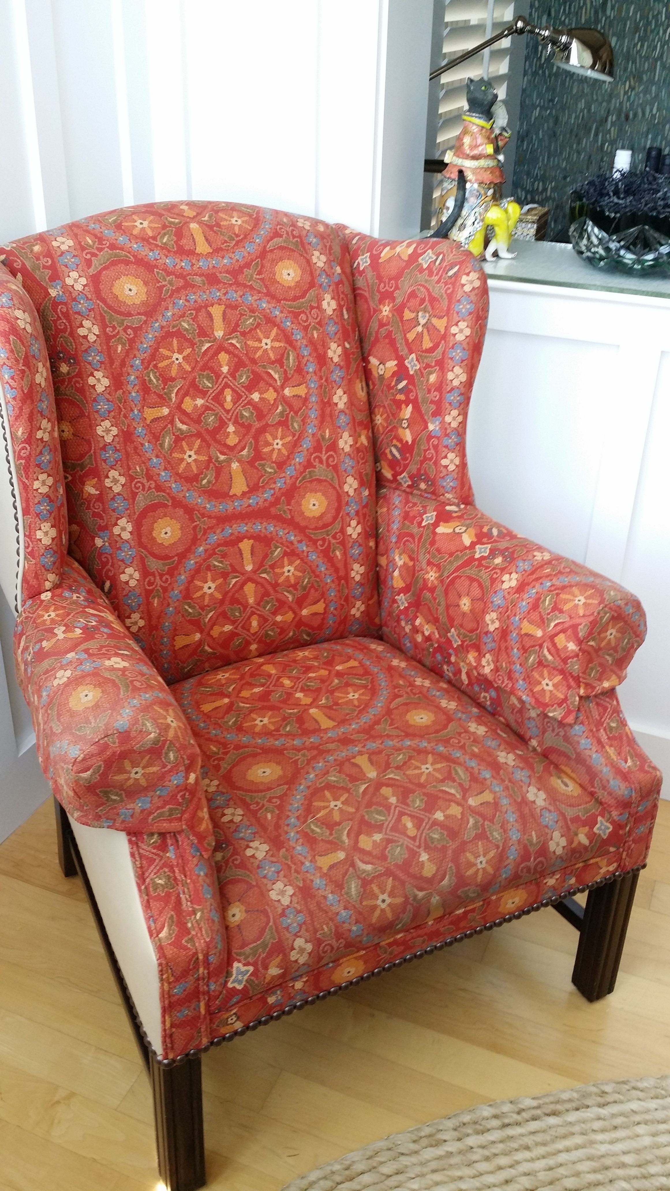 Superieur Coral Upholstered Wing Chair   Image 4 Of 8