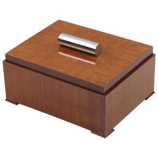 Art Deco Mahogany and Chrome Modernist Cigar Box For Sale