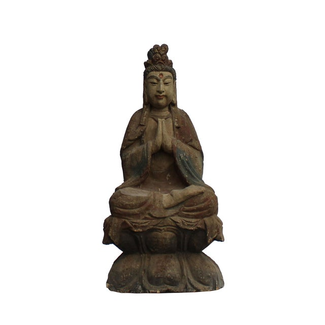 Wood Handcrafted Chinese Distressed Finish Wood Bodhisattva Statue For Sale - Image 7 of 7