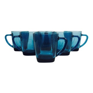 Vintage Blue Glass Mugs - Set of 6