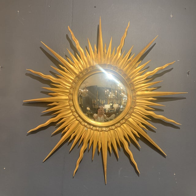 French Gold Leaf Sunburst With Convex Mirror For Sale - Image 3 of 13