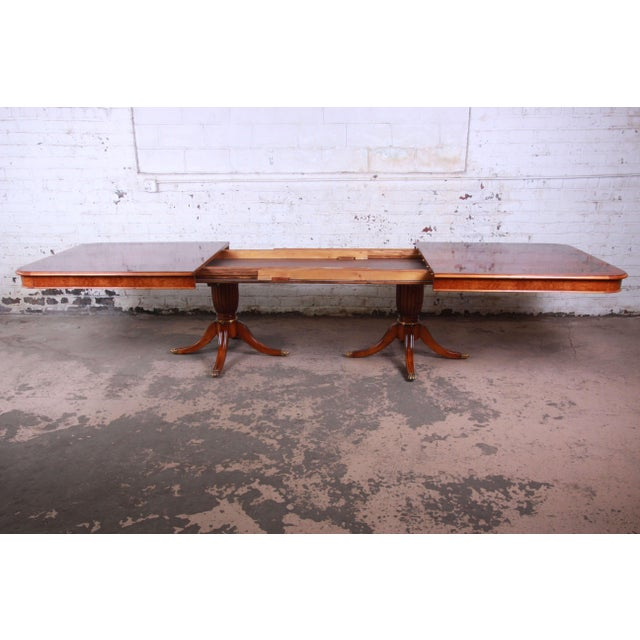 1980s Outstanding 13 Foot Burled and Inlaid Regency Style Extension Dining Table For Sale - Image 5 of 13