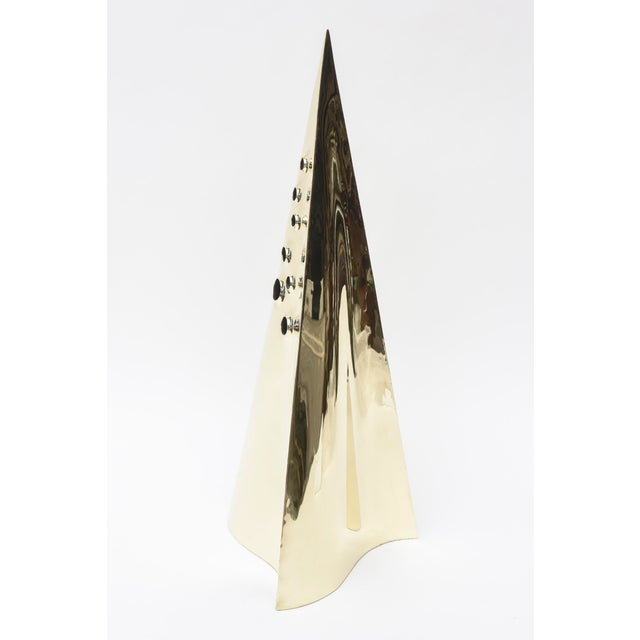 Metal Brass Pyramid Triangle Sculpture Vintage For Sale - Image 7 of 10