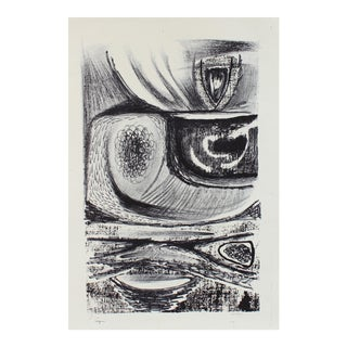 Amorphic Monochrome Abstract Lithograph For Sale