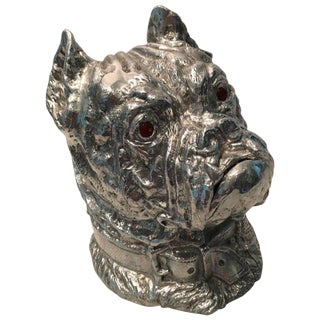 Arthur Court Cast Aluminum Bulldog Ice Bucket For Sale