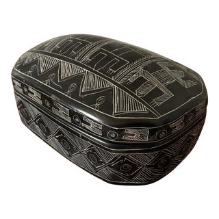 Mid 20th Century Black and White Carved Plaster Box For Sale