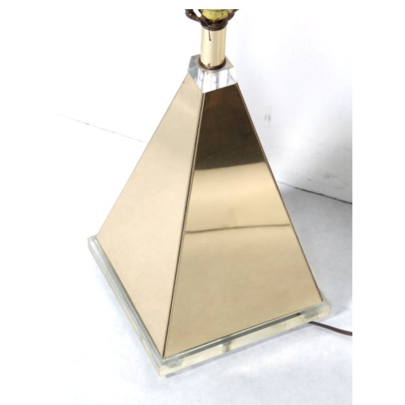 Metal Pyramid Table Lamp With Lucite Base For Sale - Image 7 of 9