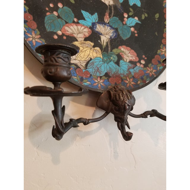 Asian Antique Pair of Cloisene Wall Sconces For Sale - Image 3 of 9