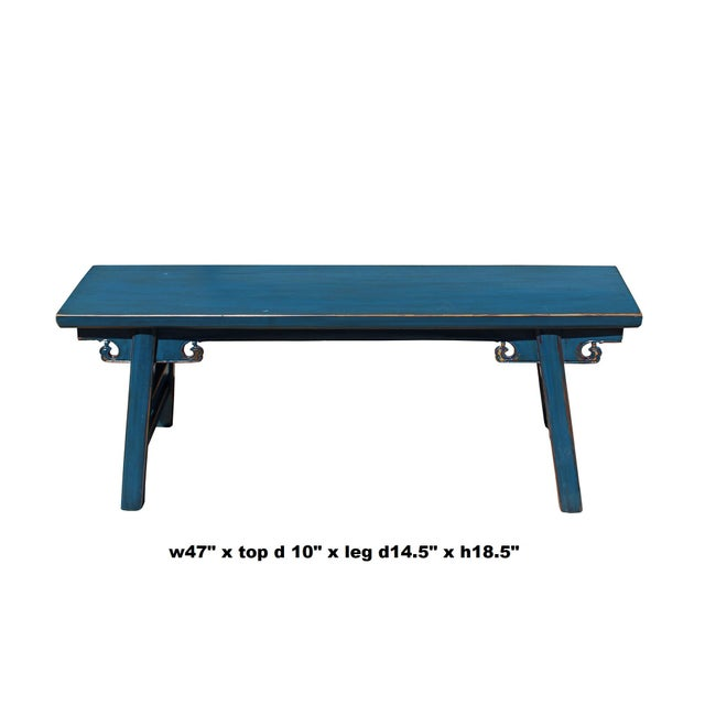 Lacquer Chinese Oriental Distressed Teal Blue Long Wood Bench Stool For Sale - Image 7 of 7