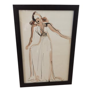 Hand Colored Fashion Drawing of Beige Gown For Sale