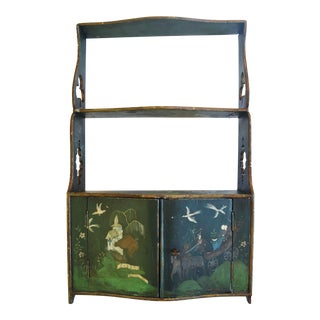 Antique Hand-Painted Chinoiserie Asian Shelf Cabinet For Sale