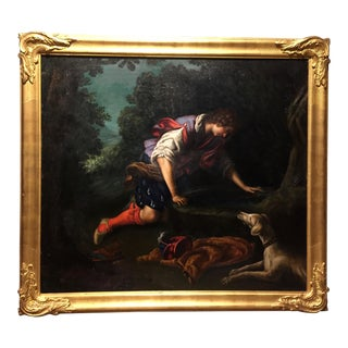 "1876 Painting by Bianchini, after Francesco Curradi, ""Narcissus at the Fountain"" For Sale"