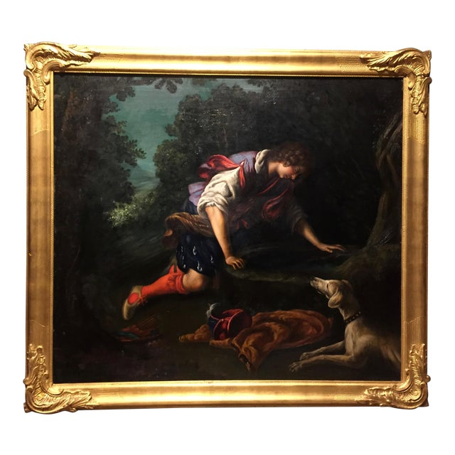 """1876 Painting by Bianchini, after Francesco Curradi, """"Narcissus at the Fountain"""" For Sale"""