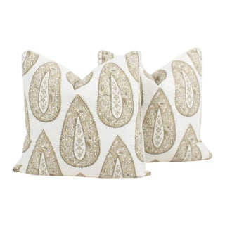 Batik Teardrop Cream Pillows, a Pair For Sale