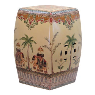 Chinese Porcelain Elephant Decorated Garden Stool For Sale