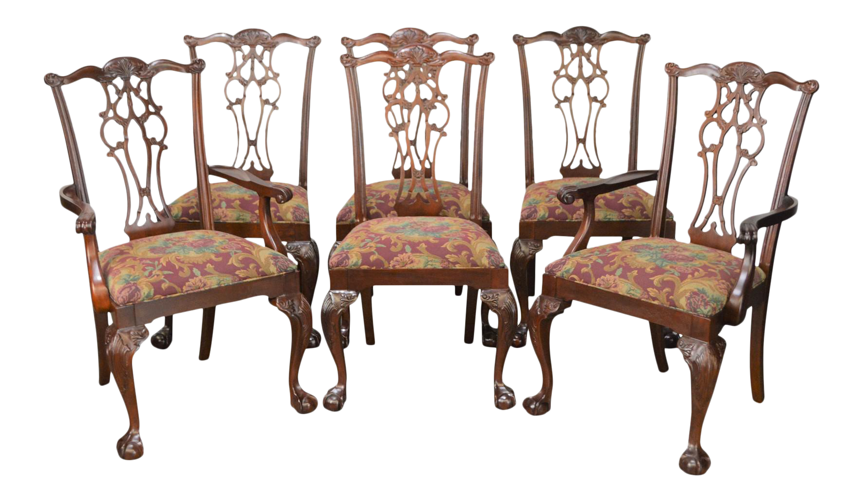 Ethan Allen 18th Century Mahogany Collection Chippendale Style Dining Chairs    Set Of 6