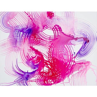 """Lorene Anderson """"Manifold"""" Colorful Abstract Pink Painting on Paper For Sale"""
