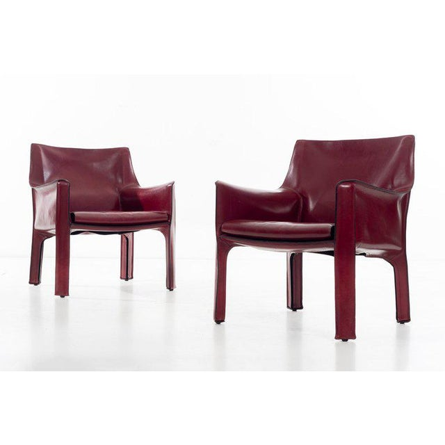 Italian Mario Bellini Cab Lounge Chairs For Sale - Image 3 of 11