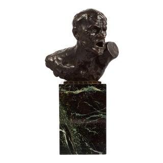"Modernist Bronze Bust Sculpture of ""Pain"" by Oszkar Zadory (Hungarian, 1883-1947) For Sale"