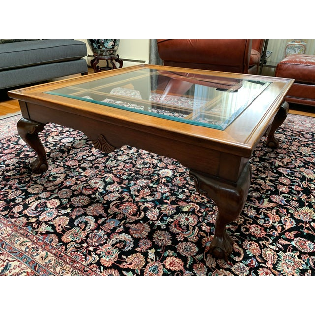 Traditional 1970s Traditional Glass and Wood Coffee Table For Sale - Image 3 of 3