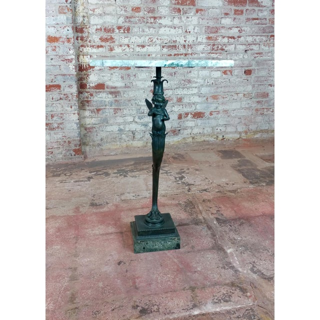 Bronze Winged Cherub Console w/Marble top For Sale - Image 11 of 11