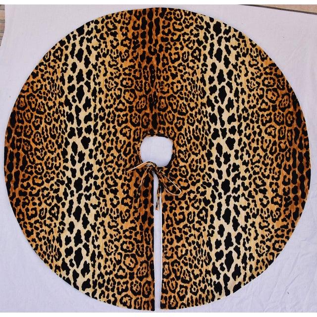 """Orange Sale! Custom Large 55"""" Leopard Velvet Christmas Tree Skirt For Sale - Image 8 of 9"""