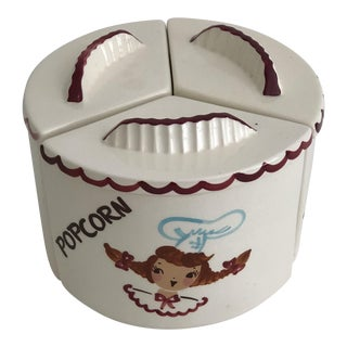 1950s California Pottery Carousel Sectioned Canister For Sale