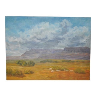 American West Landscape with Sheep by Johnsen C.1975 For Sale
