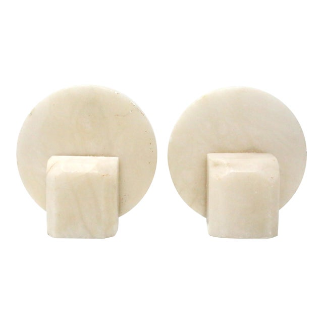 Vintage Mid Century Round Marble Stone Bookends - a Pair For Sale