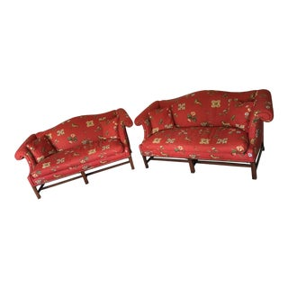 Exquisite 19th Century Antique Chinese Chippendale Camel Back French Style Loveseats Settees - a Pair For Sale