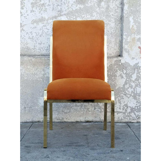 Vintage Brass & Velvet Dining Chairs - Set of 4 - Image 6 of 7