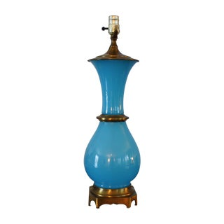 Vintage Murano Opaline Blue Lamp For Sale