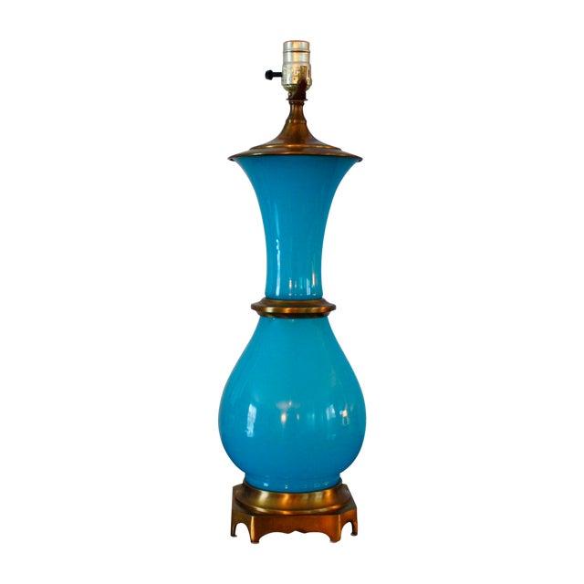 Vintage Murano Opaline Blue Lamp - Image 1 of 11