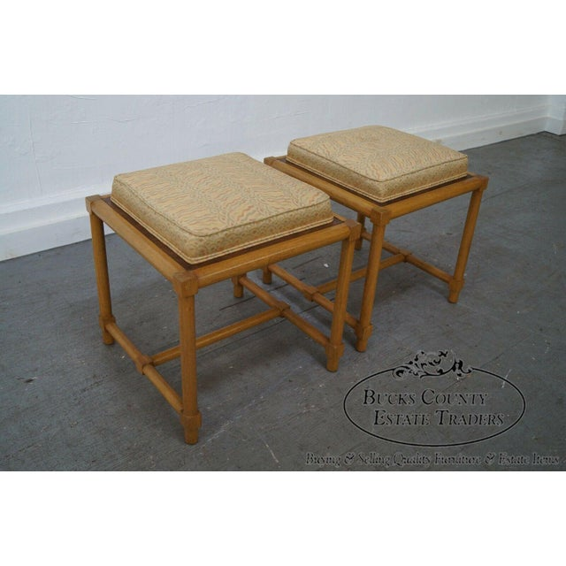 Red Tommi Parzinger Pair of Stools Reverse Top Low Tables For Sale - Image 8 of 11