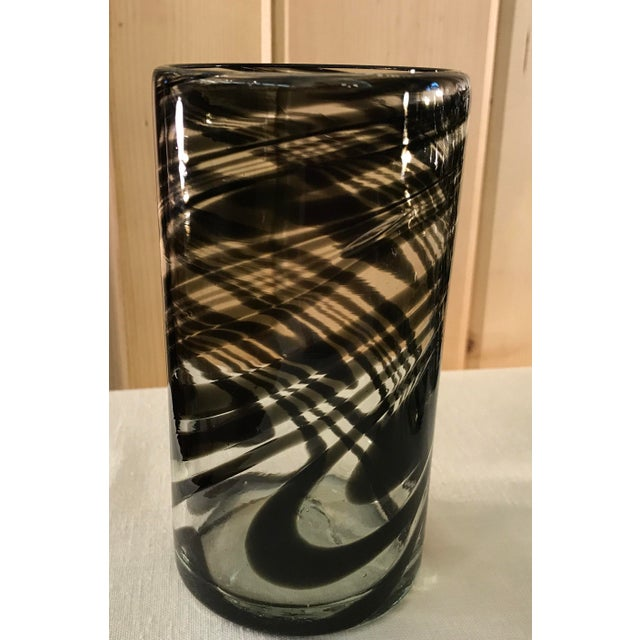 Vintage Hand-Blown Black Swirl Tumbler Glasses - Set of 10 - Image 4 of 11