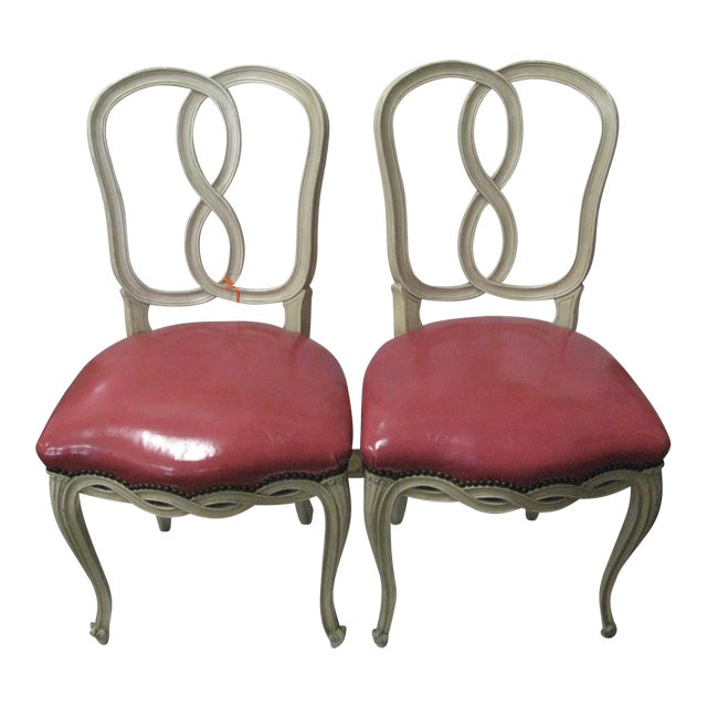 Italian Painted & Pink Leather Chairs - A Pair - Image 1 of 10